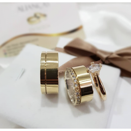 10mm -  friso e pedras na feminina + anel